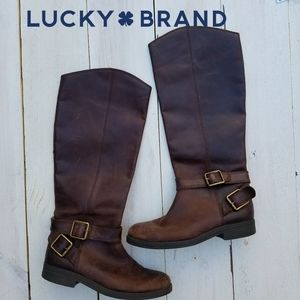 Lucky Brand leather harness boots